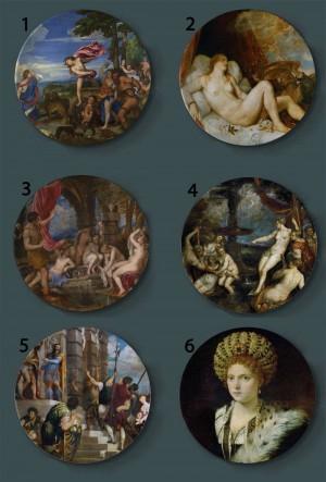 Tiziano Vecellio Peinture Plaques Décoratives En Céramique Maison Artistique Plat Hôtel Arrière Plan Affichage Venise École Peinture À L'huile Plaque