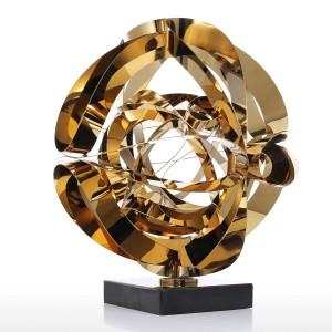 Rêve Fleur Sculpture Moderne En Métal Résumé Figurine En Acier Inoxydable Artisanat Cadeau pour Bureau Décoration de La Maison Accessoires