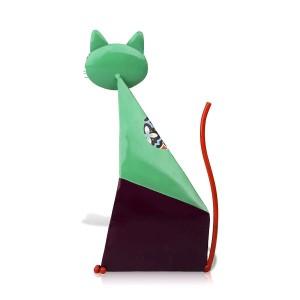 Fortune Chat Figurine Miniature En Métal Animal Figurine Décoration de La Maison Pastorale Coloré Art Statuette Artisanat Cadeau Pour La Maison