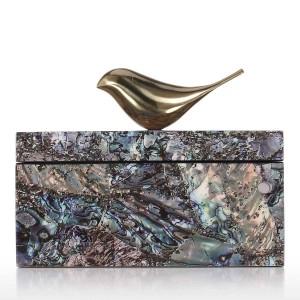 Boîte à bijoux avec des oiseaux de cuivre bibelots en bois décoration bague collier boîte de rangement cadeaux d'anniversaire pour les femmes Black Velvet