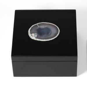 Boîte à bijoux en bois anneau collier boîte de rangement cadeau d'anniversaire pour les femmes décoration boîte cadeau boîte à bijoux Black Velvet