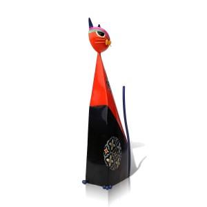 Rouge Fortune Chat En Forme De Figurine En Métal Figurine Miniature Ameublement Pastoral Art Artisanat Cadeau Décoration De La Maison Accessoires