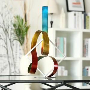 Carré et ruban moderne sculpture abstraite accessoires de décoration de la maison moderne Figurine Nouvel An cadeau cadeau de Noël