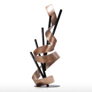 Ligne droite et ruban métal moderne sculpture abstraite Home Decor cadeau d'année cadeau accessoires de maison Figurine