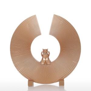 Fortune Chat Résine Sculpture Art Moderne Décor À La Maison Statue Figurine Ornement Pour La Maison Bureau