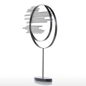 Feuille d'érable ornement sculpture en fer abstrait moderne sculpture cercle de fer décor à la maison moderne concise illustration
