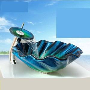 Lavabo en verre trempé lavabo podium salle de bains anormale art lavabo vasque en verre lavabo lavabo bleu