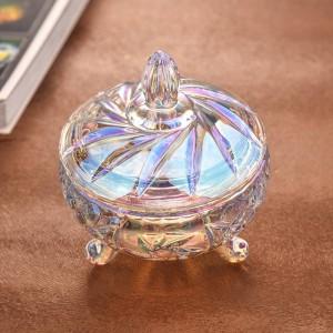 Verre de cristal transparent coloré verre de bonbons de mariage mariage pot de stockage de fruits secs peut boîtes de stockage de bijoux ustensiles décoratifs
