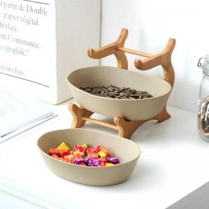 Bol de service en céramique givrée à deux étages, assiette de dîner en céramique décorative de table en bambou, pièce maîtresse pour fruits, salade et collation