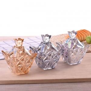 Variété de verre de diamants colorés Bonbonnière ronde avec couvercle boîte de bonbons boîte de stockage de sucre transparent créatif cube de stockage
