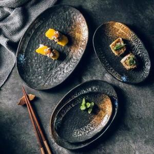 Vintage en céramique 7/8/9/10 pouce assiette forme ovale assiette à dessert assiette de gâteaux assiette à gâteaux assiette décorative couverts