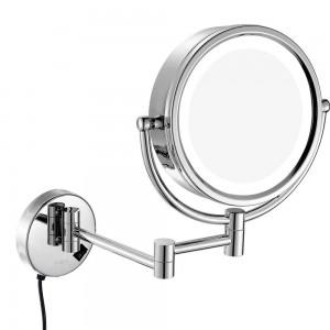 Miroir de maquillage pivotant à LED lumineux éclairé au mur avec grossissement 10X / 7X / 5X, Rétroviseurs double face / grossissant / régulier, plug-in