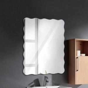 Wavy frameless miroir de salle de bain miroir suspendu salle de bain miroir imperméable à l'eau chambre salon véranda miroir de maquillage wx8231141