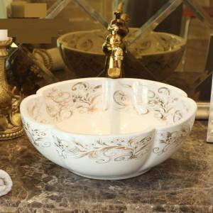 Forme de fleur blanche Lavabo à la main Lavabo Art lavabo comptoir en céramique lavabo lavabos comptoir