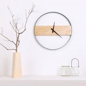Horloge murale en bois Salon Horloge en bois minimaliste Horloge de mode créative Table minimaliste moderne Horloges murales