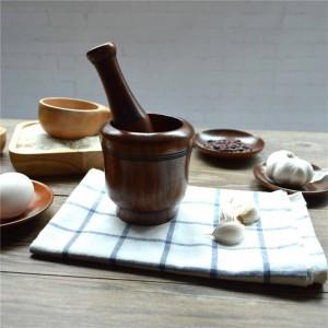 Usine en bois de pilon d'ail pour l'assaisonnement écologique de fournitures de cuisine en bois respectueuses de l'environnement de sel / poivre / fruit / légume