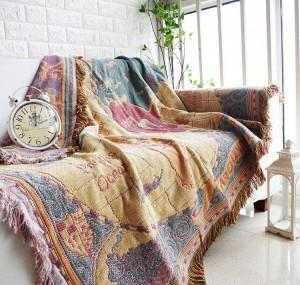 Carte du monde jeter couverture cadeau de Noël décoratif Cobertor Manta Para canapé / lits voyage voyage plaid couvertures de couture antidérapantes gland