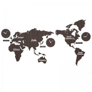 Carte du monde horloge murale Salon nordique personnalité horloge Fond décoration murale horloges bricolage bois horloge murale décoration murale