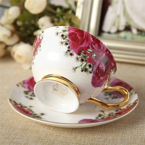 Après-midi en céramique tasses à thé et soucoupes tasse à café en os avec plateau de verres à boire en porcelaine Dropshipping