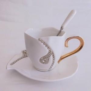 Diamants Conception Tasse À Café Créative Cadeau Amoureux Tasses À Thé Tasses 3D En Céramique Avec Strass Décoration Tasses Et Soucoupes