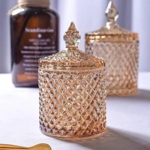 Cube en verre de cristal de cristal jaune rhombique cube de sucre bol de coton tige coton tige boîte boîte de thé de fleurs accueil stockage de bijoux peut naments